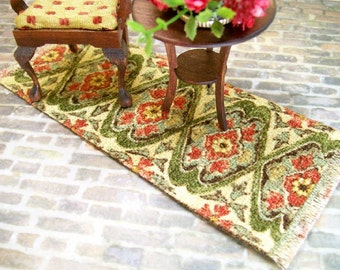 Green Peach Rug Carpet Persian Oriental 1:12 Dollhouse Miniature Artisan