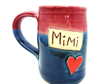 Handmade Pottery  Mimi  Mug  ceramics and pottery  Mimi  blue and burgundy by Jewel Pottery