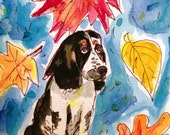 Autumn Springer Spaniel, Hand Painted Cards, Happy Fall Cards, Dog Card, Thanksgiving cards, Dog Paintng, Original Watercolor, Hamdmade Card