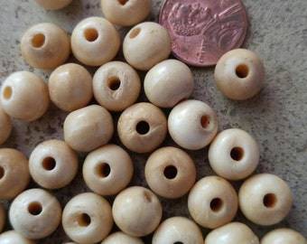 50 8mm Antique White Bone Beads