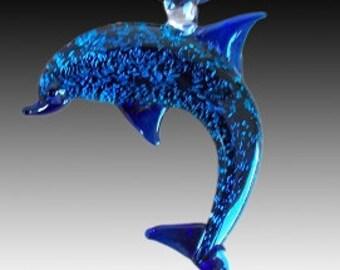 Cobalt Blue Dichroic Hand Blown Glass Dolphin Pendant, Focal Bead, Lampwork