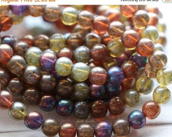 10% off MYSTIC MARBLE MIX 6mm .. 30 Picasso Czech Druk Glass Beads (4837-st)