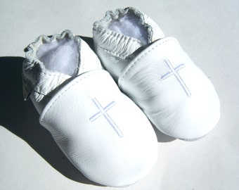 white leather Baptism shoes, with cream cross ,christening shoes,fancy white shoes,leather shoes with a cross,