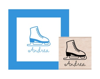 Personalized Ice Skate Rubber Stamp