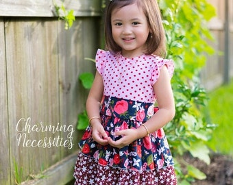 SALE Knit Top Twirl Dress Fall Back to School Midnight Garden by Charming Necessities Toddler Girl Boutique Clothes French Vintage Inspired