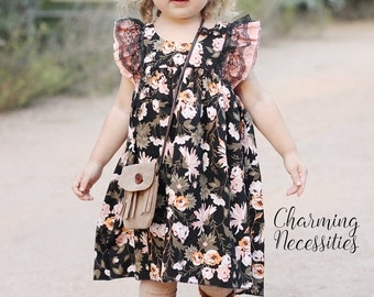 SALE Baby Girl Clothes, Toddler Girl Clothes, Black Coral Orange Double Flutter Sleeve Vintage Dress Fall Back to School, by Charming Necess