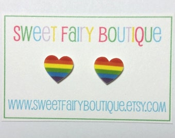 Rainbow Hearts - stud earrings