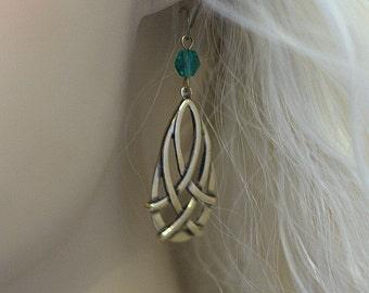 """Celtic Irish """"Erin"""" Faerical Earrings - Czech crytal - Brass - Color Choice"""
