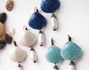 Mermaid Antique Brass Lever Back Earrings