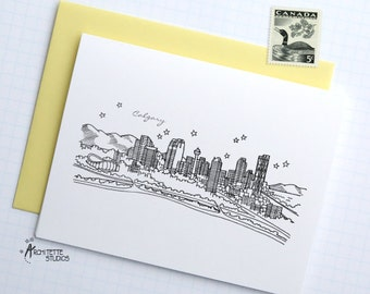 Calgary, Alberta - Canada - City Skyline Series - Folded Cards (6)