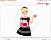 SALE Woman with Christmas presents, digital PNG clip art (Alice 469)