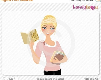 SALE Woman reading book, holding books, character clipart digital PNG clip art (Chloe 633)