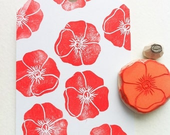 poppy rubber stamp, handmade rubber stamps