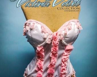 Victoria Velvet Pink Roses Burlesque Bustier Top 34 D