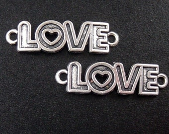 Jewelry Connectors 12 WORD Antique Silver LOVE 2-ring Charm 35mm x 10mm Lead Free NF (1039con35m1-8)