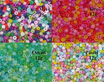 Glass Seed Bead 10g 8/0 FROSTED Transparent Matte CHOICE of Color 2mm (1014see08m-01)