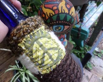 Hippie Gift, Hippie Festival, Peace Sign, Beer cozy, beer cooler, hippie crochet, beer gift, beer accessory, can cooler, bottle cooler, D49