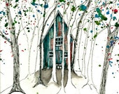 Hideaway, ACEO, PRINT, signed