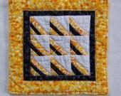 Scrappy Triangle Miniature Wall Quilt, Coaster or Mug Rug