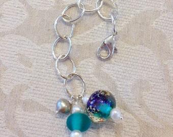One-of-a-Kind Handmde Purple/Teal Bead Planner Charm, Purse Charm, Filofax Charm