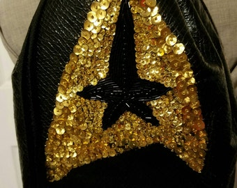 Star Trek 50th Anniversary Draw String Backpack Hand Beaded Gold and Black