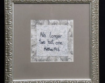 Wedding Framed  Quilted Art Gift | No Longer Two But One