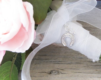 Horseshoe Bouquet Charm, Irish Wedding Tradition, Brides Charm, Western Wedding