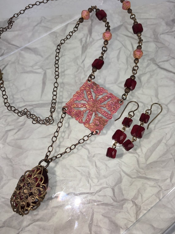 Necklace and Earring set Painted pendant with Vintage deep red glass and Swarovsky Crystlas
