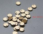 50pcs Raw Brass Brass Base Charms - Tag - Round - Disc 6mm (1752C-M-326)