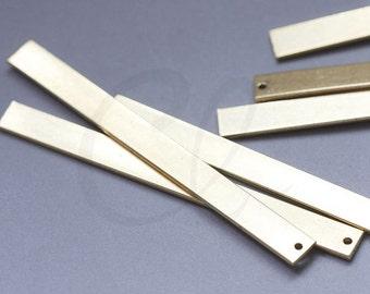 6 Pieces Raw Brass Rectangle Charm - 55x5mm (3066C-S-412)