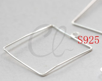 2 Pieces (One Pair) Sterling Silver Rectangle Earring Finding (PY2507-I-473)