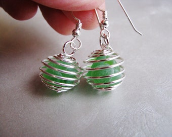 Beach Glass Earrings - Kelly Green Caged Ball Earrings - Beach Glass Jewelry