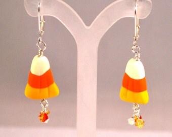 Earrings Handmade, Candy Corn Earrings, Dangle Earrings, Polymer Earrings, Ready to Ship, Drop Earrings, Halloween Earrings
