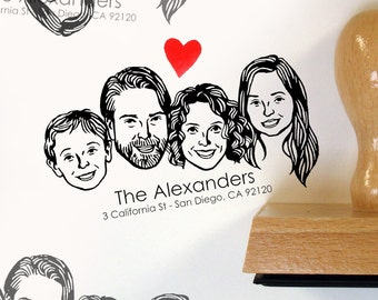 Personalized gift Custom portraits Illustrated couples' art family return address stamp holidays stamp up wedding birthday greetings cards