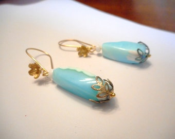 Tropical Skies ... Peruvian Blue Opal, dangle earrings, gp floral ear wires ... #658