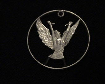 Chile - cut coin pendant - Angel Breaking Chains of Oppression - 1977