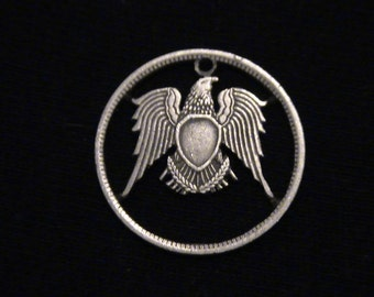 EGYPT - cut coin jewelry - Eagle - 1972