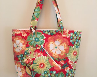 Bright Floral in Oranges and Yellows ~ Small Tote & Wristlet Combo