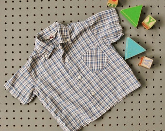 1950s Penney's Blue Plaid Shirt~Size 24 Months to 2t