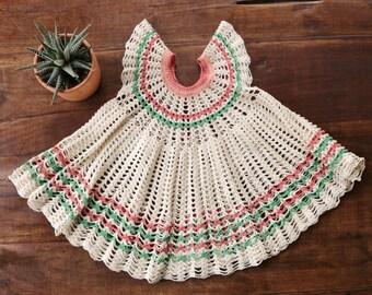 1940s Crochet Cream Dress >>> Size 18 Months to 2t