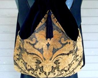 Classy Tapestry Backpack Renaissance Backpack boho backpack boho slingbag black velvet bag backpacks boho cinch bag tapestry