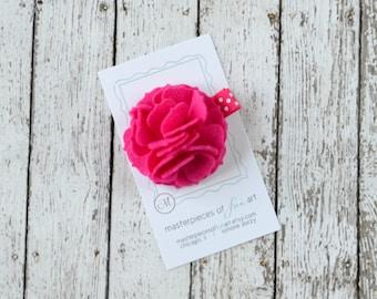 Fuchsia Felt Carnation Flower Hair Clip on a Polka Dot Clippie - bright pink - felt flower hairbow - flower hair bow with non slip grip