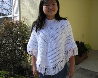 Knitted Poncho, Junior Girl - White