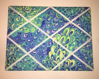 New memo board made with Lilly Pulitzer Blue Lillys Lagoon