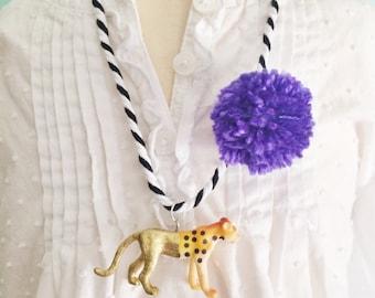 Cheetah Necklace Pom Pom Necklace Animal Necklace Pompom Jewelry Girls Animal Necklace Kids Jewelry Jewelry for Tweens