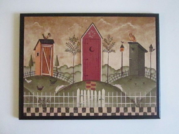 Outhouses Wall Decor Plaque Rustic Country Bath Primitive