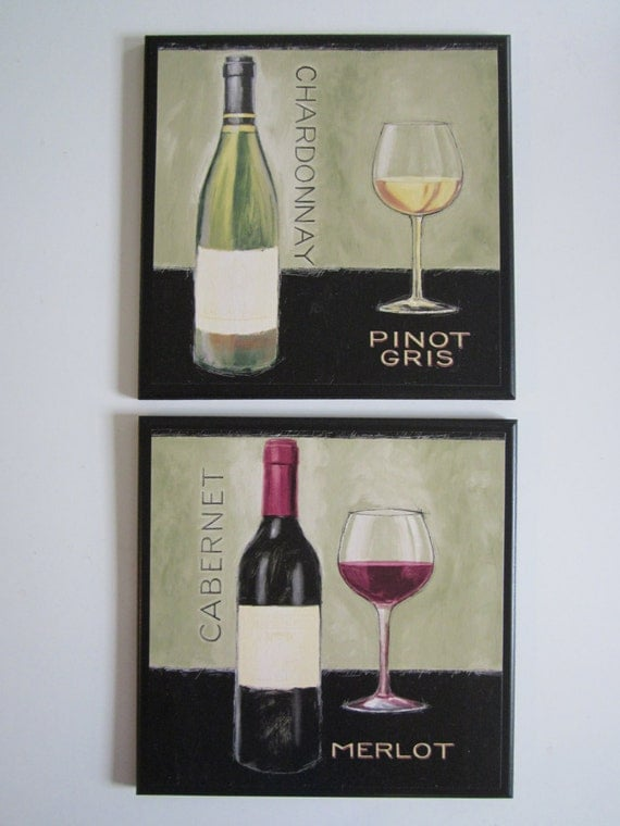 Wine Theme Kitchen Wall Decor Plaques Set Of 2 Moss Green