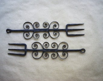 Vintage Wrought Iron Forks 3 Tine Tridents Roasting Utensils