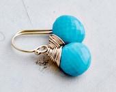 Drop Earrings, Turquoise Earrings, December Birthstone, Turquoise Jewelry, 14K Gold Filled, Resort Jewelry, Dangle Earrings, PoleStar