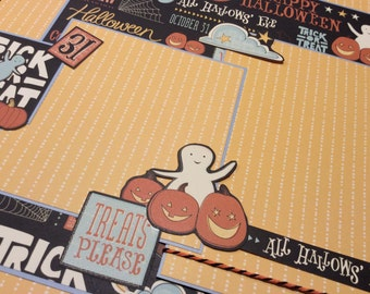 Premade Halloween Scrapbook Layout Single Page, Children's Halloween Scrapbook Page, Cute Halloween Layout Page, Ghosts, Pumpkins